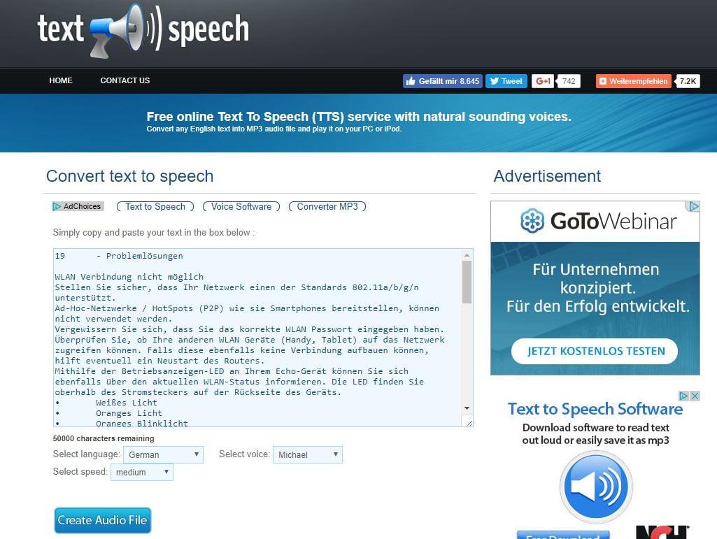Text vorsprechen lassen: Webdienst