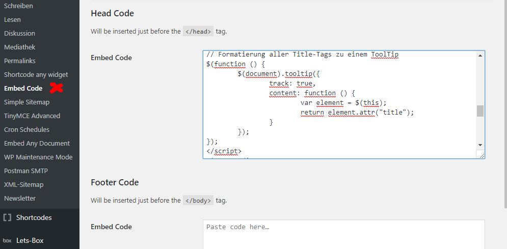 WordPress Embed Code