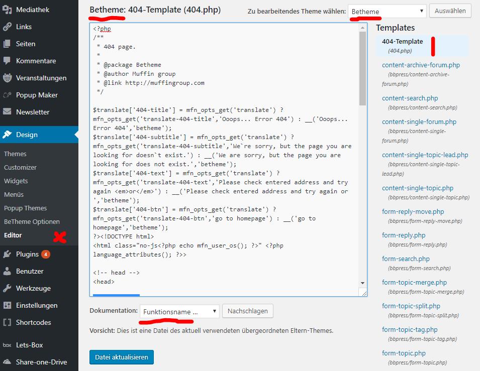 WordPress Modifikationen