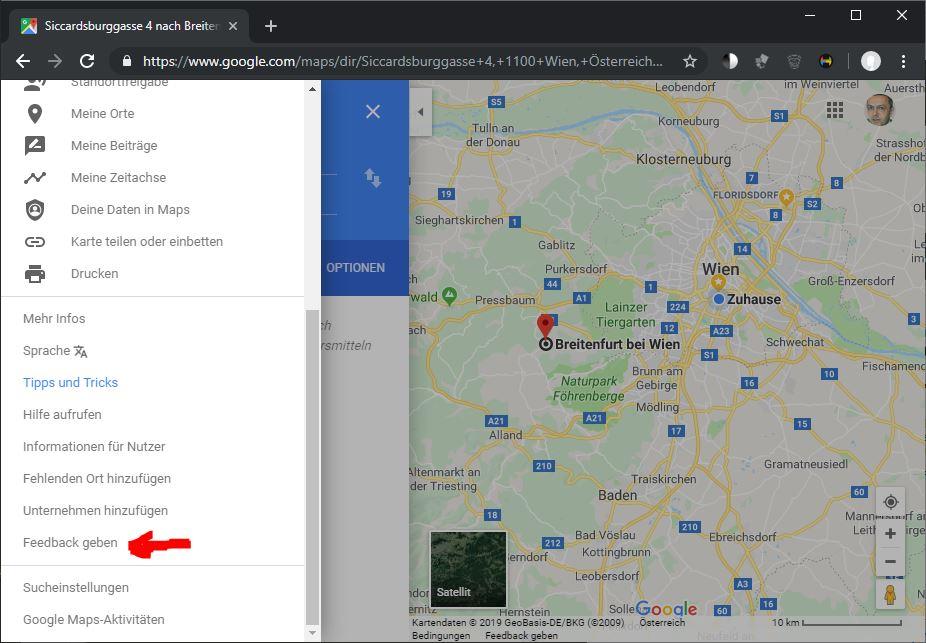 Google Maps korrigieren