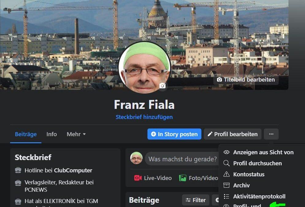 Facebook-Archiv sichern