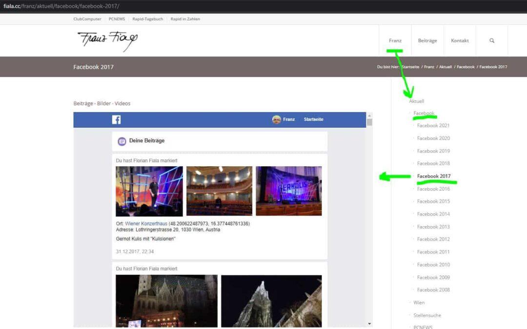 Facebook-Archiv in WordPress publizieren